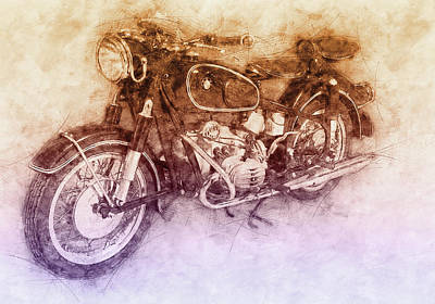 Mixed Media Royalty Free Images - BMW R60/2 - 1956 - BMW Motorcycles 2 - Vintage Motorcycle Poster - Automotive Art Royalty-Free Image by Studio Grafiikka