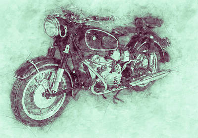 Mixed Media Royalty Free Images - BMW R60/2 - 1956 - BMW Motorcycles 3 - Vintage Motorcycle Poster - Automotive Art Royalty-Free Image by Studio Grafiikka