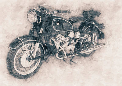 Mixed Media Royalty Free Images - BMW R60/2 - 1956 - BMW Motorcycles - Vintage Motorcycle Poster - Automotive Art Royalty-Free Image by Studio Grafiikka