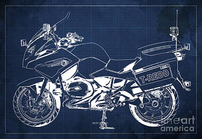 Police Mixed Media - Bmw Rt1200 Police Blueprint by Pablo Franchi