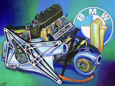 Benetton Wall Art - Painting - Bmw M12/13 Turbo Engine by D-mark-o