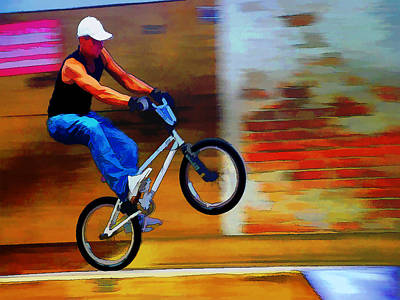 Cycling Action Painting - Bmx Colored Drawing In Action by Elaine Plesser