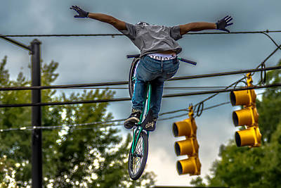 Sports Royalty-Free and Rights-Managed Images - Bmx Extreme Team Making Stunt In Downtown York South Carolina At by Alex Grichenko