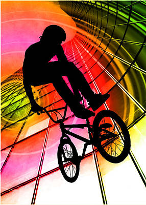 Extreme Sports Painting - Bmx In Lines And Circles by Elaine Plesser