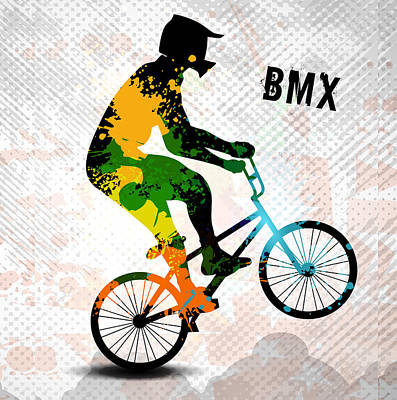 Cycling Action Painting - Bmx Rider In Abstract Paint Splatters Sq With Text Bmx by Elaine Plesser