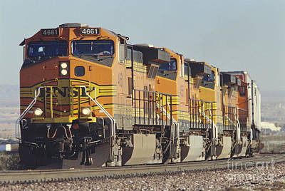 Freight Train Photograph - Bnsf Freight Train by Richard R Hansen and Photo Researchers