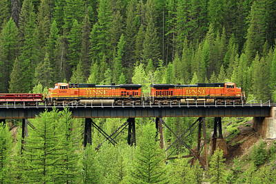 Photograph - Bnsf Going Over Goat Lick Creek by Christiane Schulze Art And Photography
