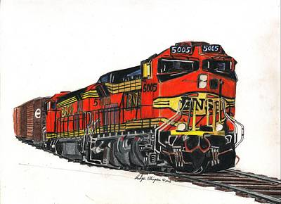 Drawing - Bnsf by Rodger Ellingson