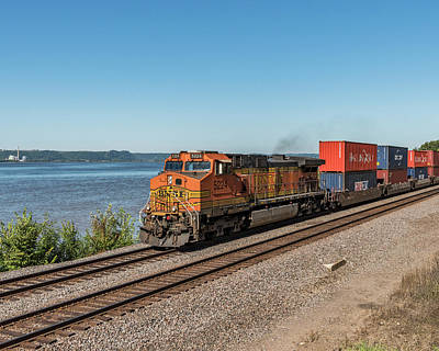 Bnsf Stack Train On The Mississippi Art Print