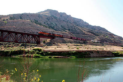 Photograph - Bnsf Train Along The Wind River by George Jones