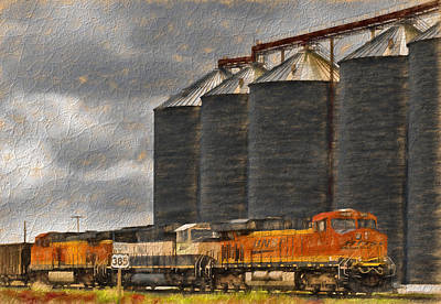 Photograph - Bnsf Train And Nebraska Grain Silo by Ginger Wakem