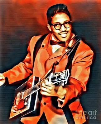 Music Paintings - Bo Diddley, Music Legend. Digital Art by Mary Bassett by Esoterica Art Agency
