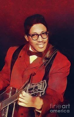 Rock And Roll Royalty-Free and Rights-Managed Images - Bo Diddley, Music Legend by Mary Bassett