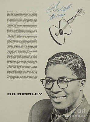 Bo Diddley Poster Autographed  Art Print by Pd