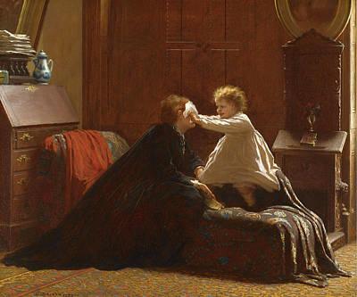 Eastman Johnson Painting - Bo Peep. The Peep by Eastman Johnson