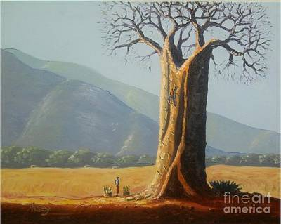 Malawi Painting - Boabab Harvest by Nisty Wizy