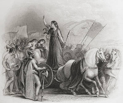 Boadicea Haranguing The Britons Art Print by Vintage Design Pics