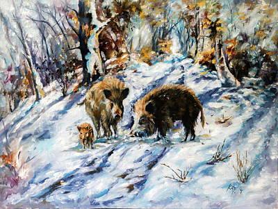 Painting - Boar by Kovacs Anna Brigitta