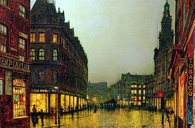 Oil Lamp Painting - Boar Lane by John Atkinson Grimshaw