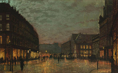 Photograph - Boar Lane, Leeds, By Lamplight By John Atkinson Grimshaw. by John Atkinson Grimshaw