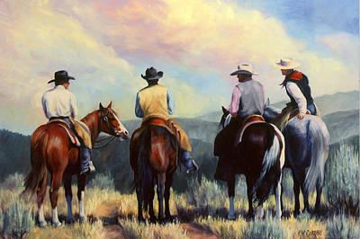Cowboy Painting - Board Meeting  Cowboy Painting by Kim Corpany