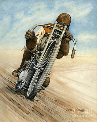 Harley Davidson Motorcycle Painting - Board Racer by James Stanley