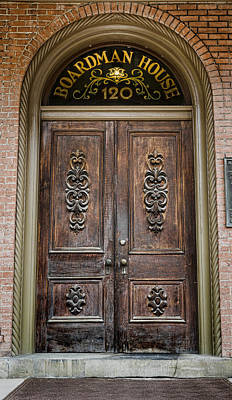 Antique Door Photograph - Boardman House - Ithaca College by Stephen Stookey