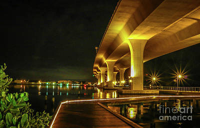 St. Lucie River Photograph - Boardwalk And Bridge At Night by Tom Claud