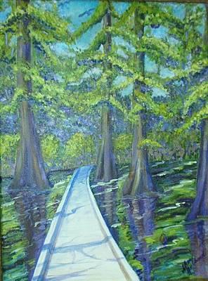 Boardwalk At Cypress Preserve Art Print by Sheri Hubbard