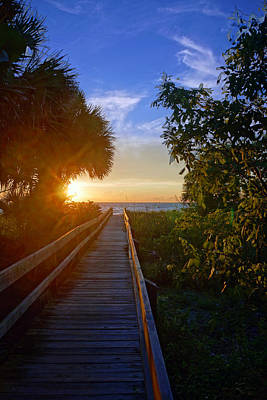 Sunset At The End Of The Boardwalk Art Print