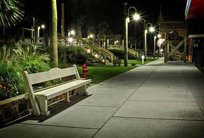 Carolina Beach Photograph - Boardwalk Bench At Night by Greg Mimbs