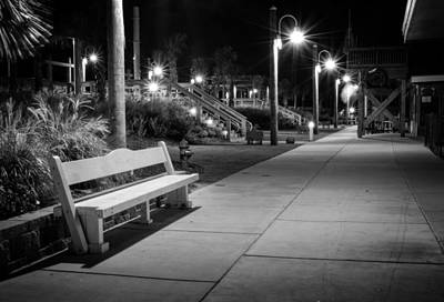 Carolina Beach Photograph - Boardwalk Bench At Night In Black And White by Greg Mimbs