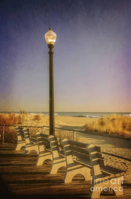 Photograph - Boardwalk Benches by Debra Fedchin