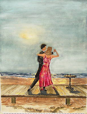 Boardwalk Dancers Art Print by Miroslaw  Chelchowski