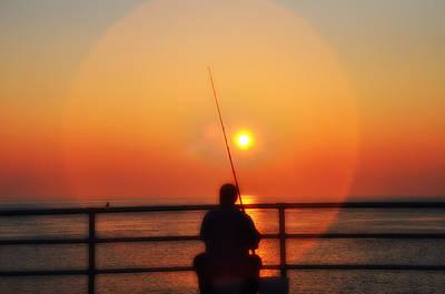 New Jersey Photograph - Boardwalk Fishing by Bill Cannon