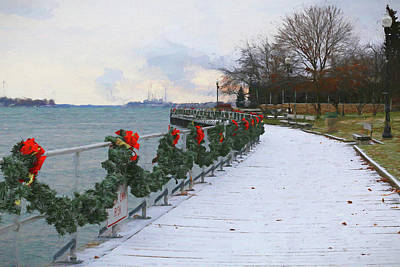 Photograph - Boardwalk In Winter 2 121017 Painterly by Mary Bedy
