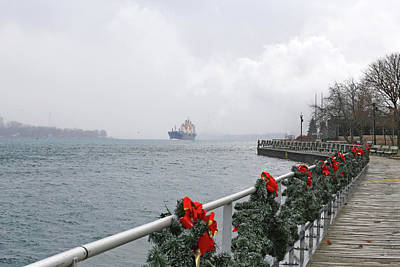 Photograph - Boardwalk In Winter W Freighter by Mary Bedy