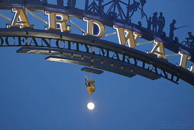Photograph - Boardwalk Moon Rising by Robert Banach