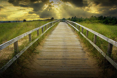 Photograph - Boardwalk On The Beach With Radiant Sunbeams by Randall Nyhof