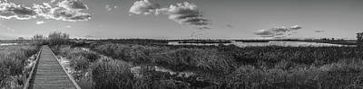 Boardwalk Panorama Monochrome Art Print
