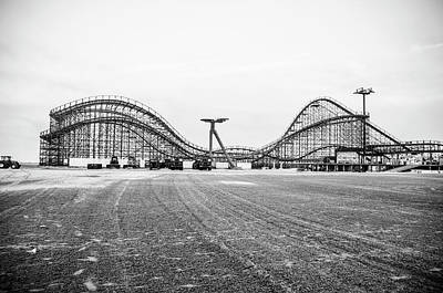 Roller Coaster Photograph - Boardwalk Roller Coaster - Great White - Wildwood Nj by Bill Cannon