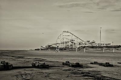Rollercoaster Digital Art - Boardwalk Rollercoaster In Sepia by Bill Cannon