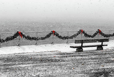 Photograph - Boardwalk Snowstorm With Red Ribbon by Mary Bedy