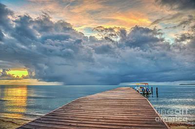 Photograph - Boardwalk Sunrise Rain Clouds by David Zanzinger