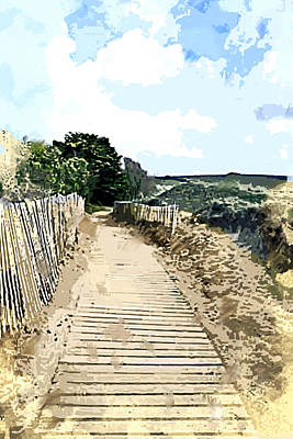 Sand Fences Painting - Boardwalk Through The Dunes by Elaine Plesser