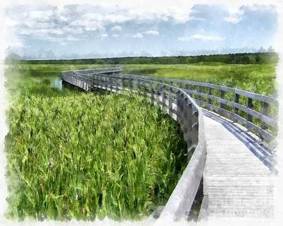 Sand Dunes Painting - Boardwalk Through The Dunes Prince Edward Island by Edward Fielding