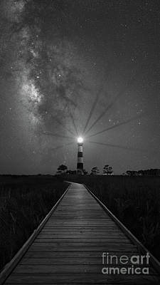 Photograph - Boardwalk To Bodie Island Light Bw by Michael Ver Sprill