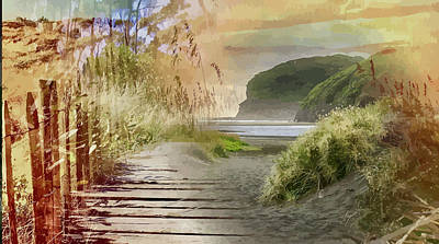 Digital Art - Boardwalk To Kare Kare Beach by Clive Littin