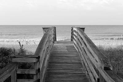 Isle Photograph - Boardwalk To The Ocean Bw by Matthew Modena