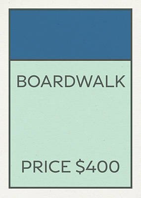 Monopoly Mixed Media - Boardwalk Vintage Monopoly Board Game Theme Card by Design Turnpike